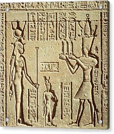 Relief Depicting A Pharaoh Making An Offering To Hathor, From The Roman Birth House, Or Mammisi Acrylic Print by Greco-Roman