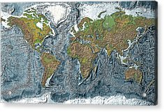 Relief Map Of The Earth Acrylic Print