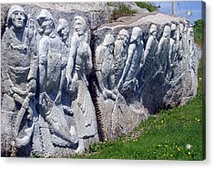 Relief Sculpture At Peggy's Cove Acrylic Print by Brenda Anne Foskett