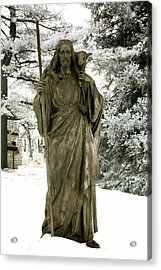 Religious Jesus Statue Holding Lamb Winter Scene Acrylic Print by Kathy Fornal