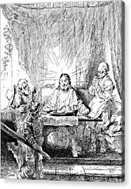 Rembrandt Etching Supper At Emmaus Acrylic Print