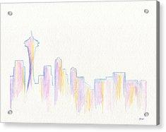 Remember Seattle Acrylic Print by Roz Abellera Art