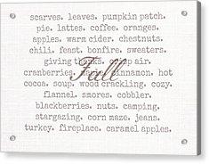 Remembering Fall Acrylic Print