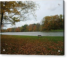 Reminiscent Park Bench Acrylic Print by Suzanne Perry