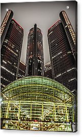 Renaissance Center Detroit Michigan Acrylic Print by Nicholas  Grunas