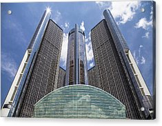 Renaissance Center From River Acrylic Print by John McGraw