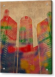 Renaissance Center Iconic Buildings Of Detroit Watercolor On Worn Canvas Series Number 2 Acrylic Print
