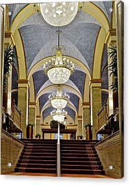 Renaissance Hotel Staircase Acrylic Print by Frozen in Time Fine Art Photography