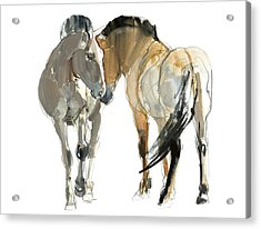 Rencontre Przewalski, 2013, Watercolour And Pigment On Paper Acrylic Print by Mark Adlington