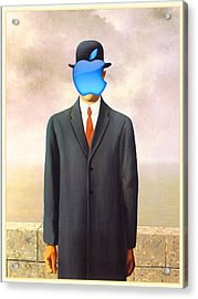 Rene Magritte Son Of Man Apple Computer Logo Acrylic Print by Tony Rubino