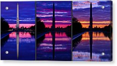 Repairing The Monument Triptych Acrylic Print by Metro DC Photography