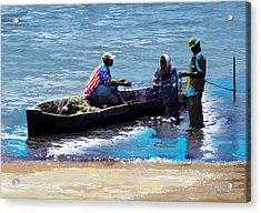 Acrylic Print featuring the painting Repairing The Net At Lake Victoria by Anthony Mwangi