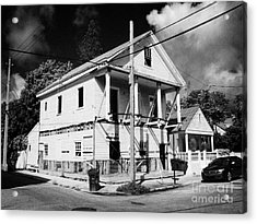 Repairs To Traditional Two Storey Wooden House In The Old Town Of Key West Florida Usa Acrylic Print by Joe Fox