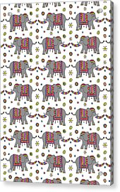 Repeat Print - Indian Elephant Acrylic Print