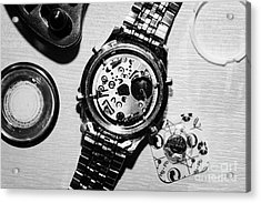 Replacing The Battery In A Metal Band Wrist Watch Acrylic Print by Joe Fox