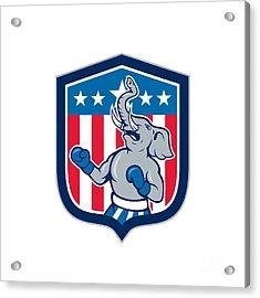 Republican Elephant Boxer Mascot Shield Cartoon Acrylic Print by Aloysius Patrimonio
