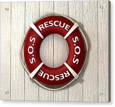 Rescue Lifebuoy Acrylic Print by Allan Swart
