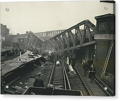 Rescue Work Goes On In The Lewisham Rail Crash Engineers Acrylic Print by Retro Images Archive