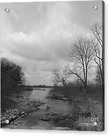 Reservoir In Winter  Acrylic Print by Sara  Raber