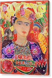 Respects To Frida Kahlo, 2002 Coloured Ink On Silk Acrylic Print