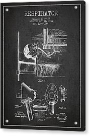 Respirator Patent From 1911 - Charcoal Acrylic Print by Aged Pixel