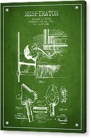 Respirator Patent From 1911 - Green Acrylic Print by Aged Pixel