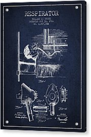 Respirator Patent From 1911 - Navy Blue Acrylic Print by Aged Pixel