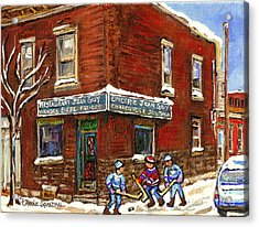 Restaurant Epicerie Jean Guy Pointe St. Charles Montreal Art Verdun Winter Scenes Hockey Paintings   Acrylic Print
