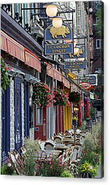 Restaurant Le Cochon Dingue In The Old Port Of Quebec City Acrylic Print by Juergen Roth