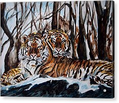 Acrylic Print featuring the painting Resting by Harsh Malik