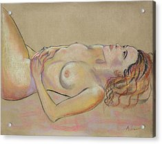 Resting Woman Looking Upward And Inward Acrylic Print by Asha Carolyn Young
