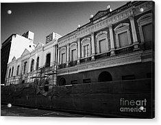restoration of old colonial buildings damaged by earthquake compania de jesus Santiago Chile Acrylic Print by Joe Fox
