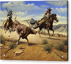 Restraint 2 Cowboys Roping A Steer Acrylic Print by Don  Langeneckert