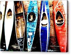 retired Kayaks Acrylic Print by Rebecca Adams
