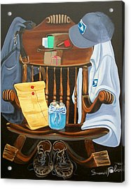 Acrylic Print featuring the painting Retiring Postal Worker Letter Carrier by Susan Roberts