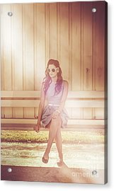 Retro Bus Stop Pin Up Girl Acrylic Print by Jorgo Photography - Wall Art Gallery