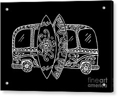 Retro Bus With Surf Boards In Zentangle Acrylic Print