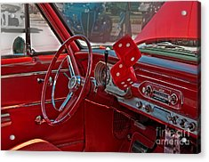 Acrylic Print featuring the photograph Retro Chevy Car Interior Art Prints by Valerie Garner