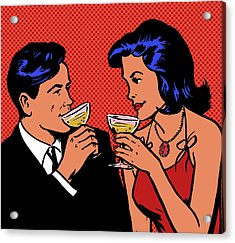 Retro Couple Drinking Champagne Acrylic Print