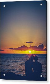 Embracing Couple At Sunset In Hawaii Acrylic Print by Mr Doomits