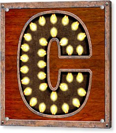 Retro Marquee Lighted Letter C Acrylic Print by Mark Tisdale