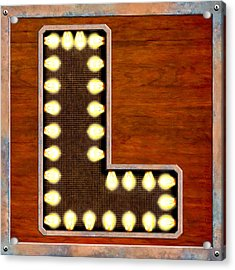 Retro Marquee Lighted Letter L Acrylic Print by Mark E Tisdale