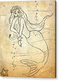 Retro Mermaid Acrylic Print