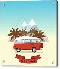 Retro Minivan With Palm Trees And Acrylic Print