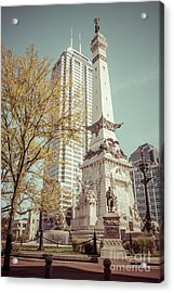 Retro Picture Of Indianapolis Soldiers And Sailors Monument  Acrylic Print by Paul Velgos