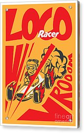 Retro Poster Cartoon Vintage Race Car Acrylic Print