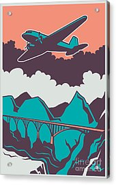 Retro Poster With Airplane. Vector Acrylic Print