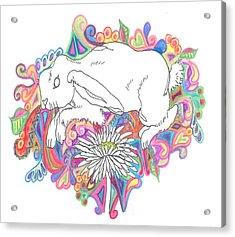 Retro Rabbit Acrylic Print by Cherie Sexsmith