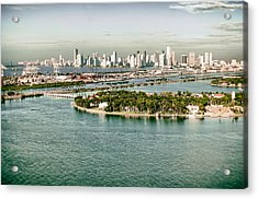 Acrylic Print featuring the photograph Retro Style Miami Skyline And Biscayne Bay by Gary Dean Mercer Clark