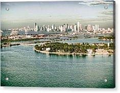 Retro Style Miami Skyline And Biscayne Bay Acrylic Print